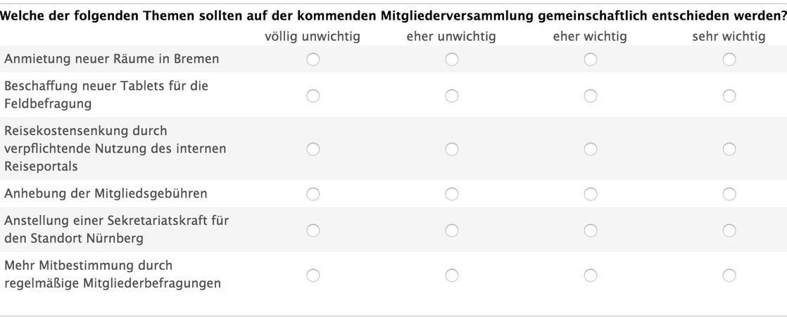 Fragebogen einer Mitgliederbefragung