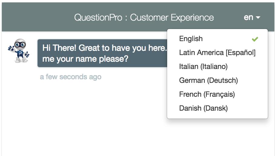 Sélection du questionnaire de chat multilingue