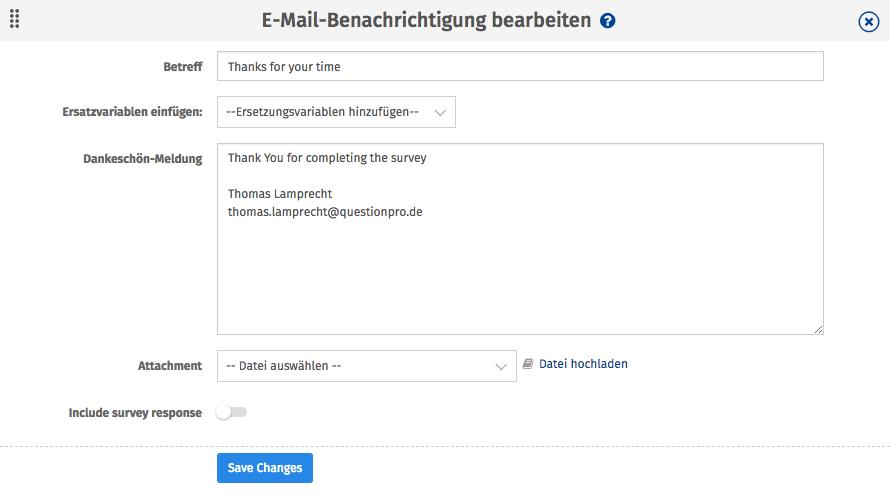 Dankes Email bei Online Umfragen