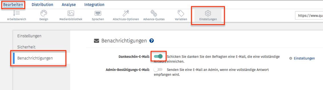 Dankes Email nach Online Umfragen