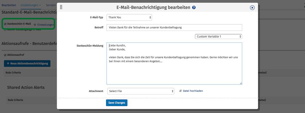 Antwort auf Kundenfeedback aus Umfrage per Mail in Echtzeit