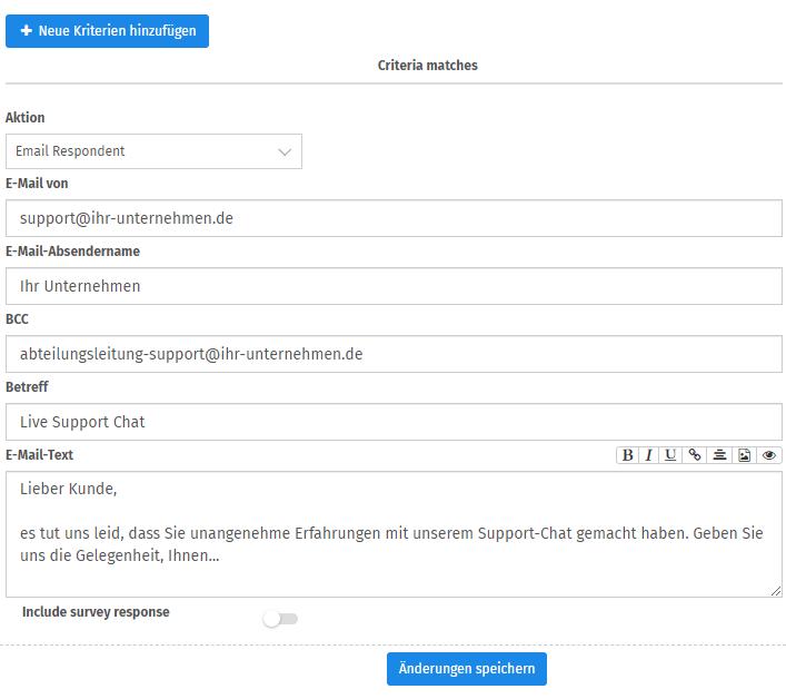Reaktion auf Kundenfeedback einrichten mit QuestionPro