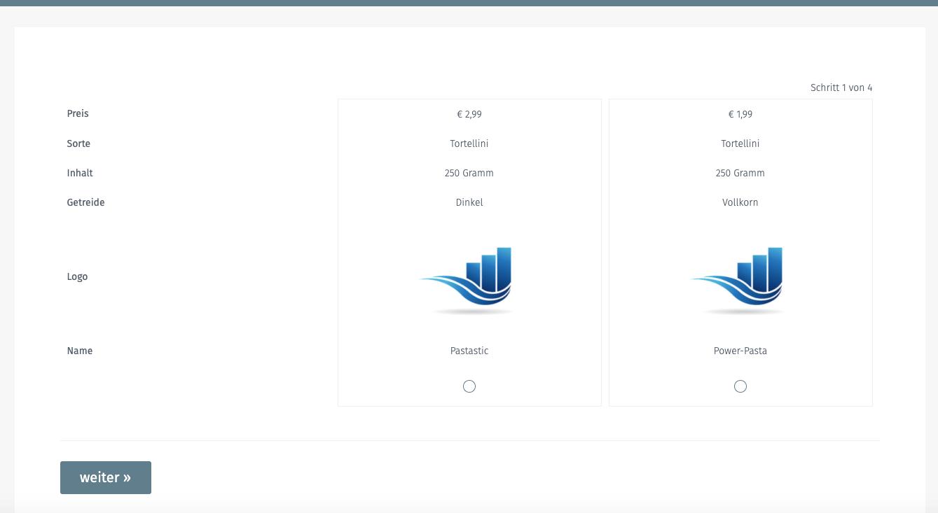 Ansicht der Conjoint Analyse auf dem Desktop-PC