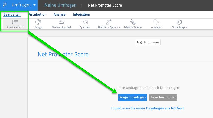 Net Promoter Score Frage hinzufügen
