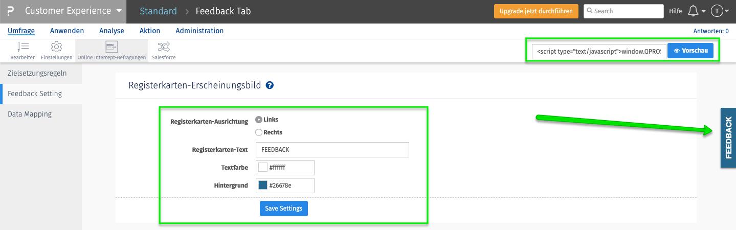 Feedback Tab und Feedback Button Registerkarte einrichten