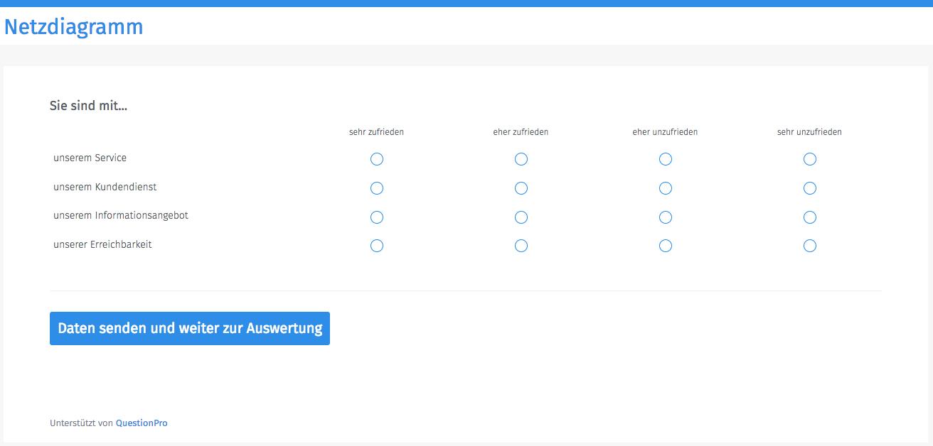 Netzdiagramm Fragebogen