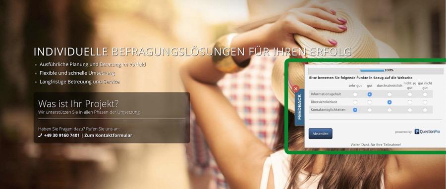 Feedback Tab und Feedback Button im Touchpoint Management