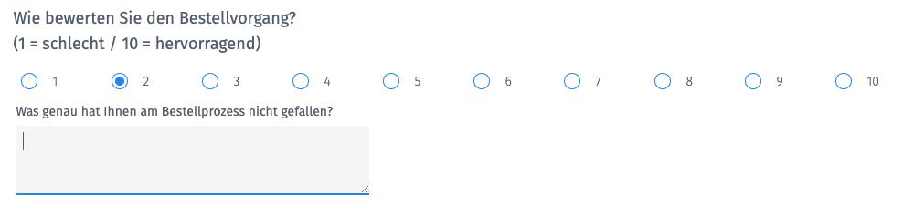 Customer Effort Score mit Freitext-Antwort
