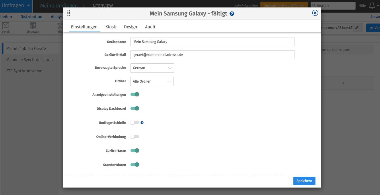 Konfiguracija aplikacije Survey