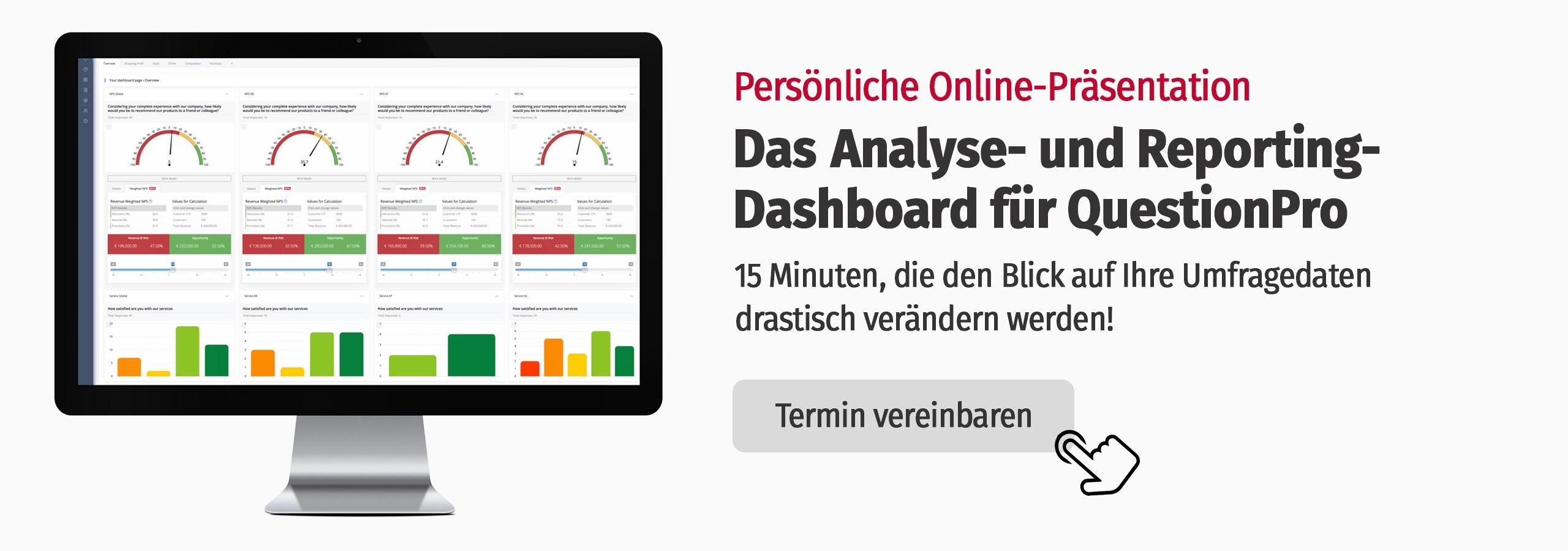 Analyse Dashboard von QuestionPro für Marktforschung und Experience Management