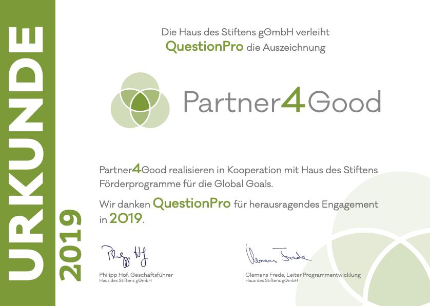 Auszeichnung Partner 4 Good