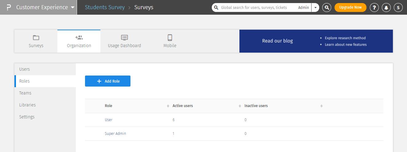 Sie können den Zugriff individuell aus fünf verschiedenen Ebenen der Umfrageverwaltung auswählen