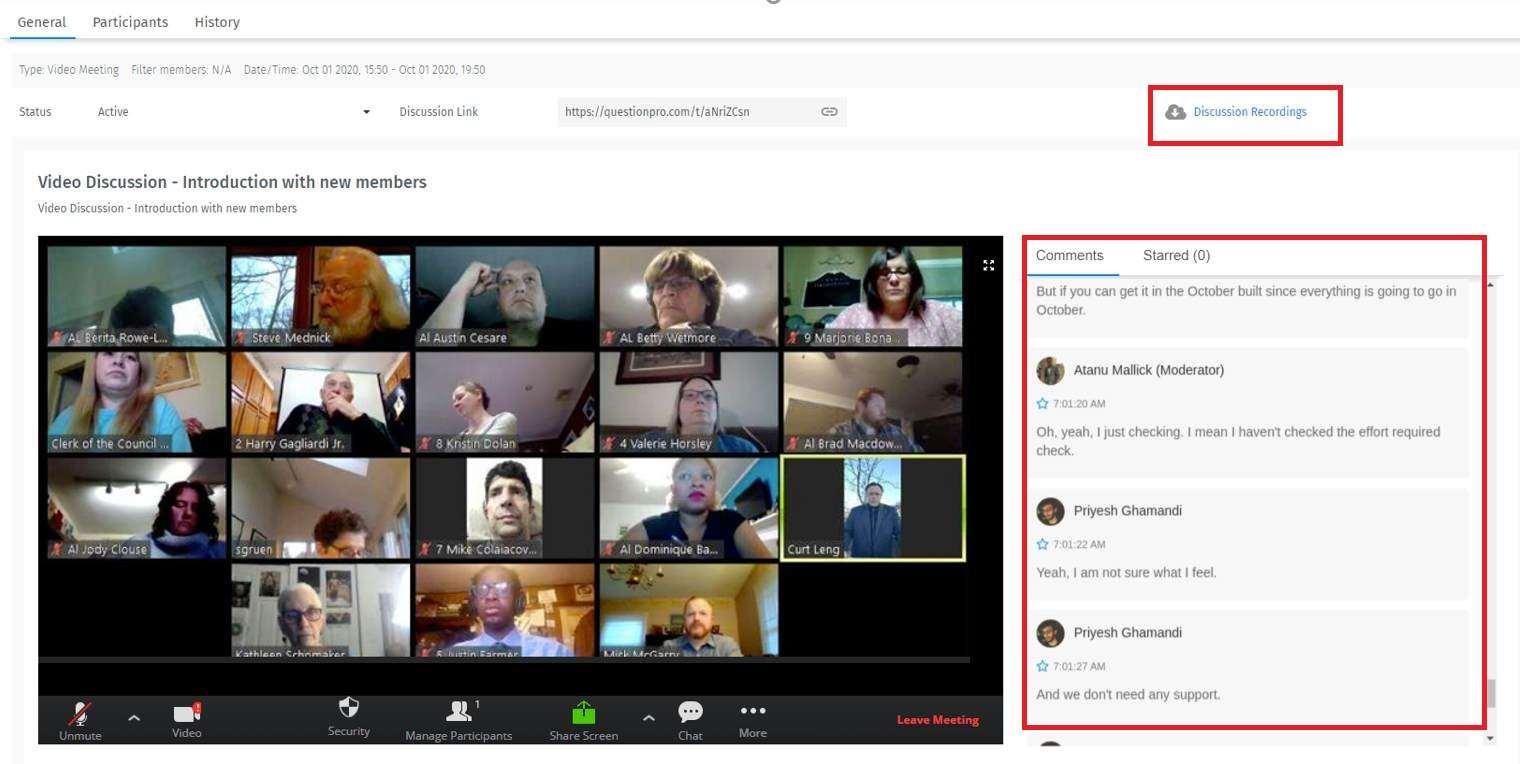 Videodiskussionen Ansicht als Administrator
